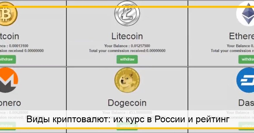 Виды криптовалют в России